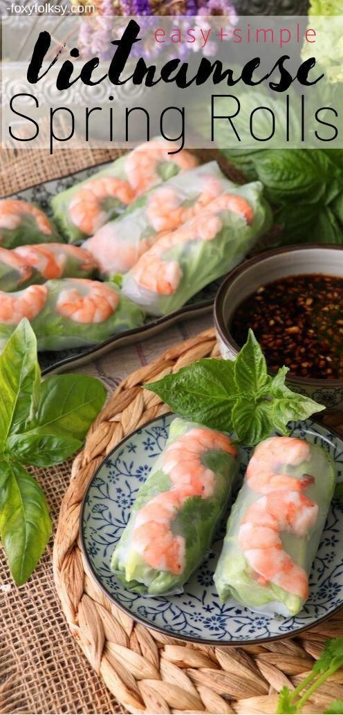 Cool, refreshing and healthy! Vietnamese Spring Rolls are easier to make than you think. Choose between ginger-soy sauce or hoisin-peanut sauces dip or both! | www.foxyfolksy.com #recipe #vietnamesefood #asianfood #foxyfolksy #springrolls #healthy #appetizerrecipeshealthy