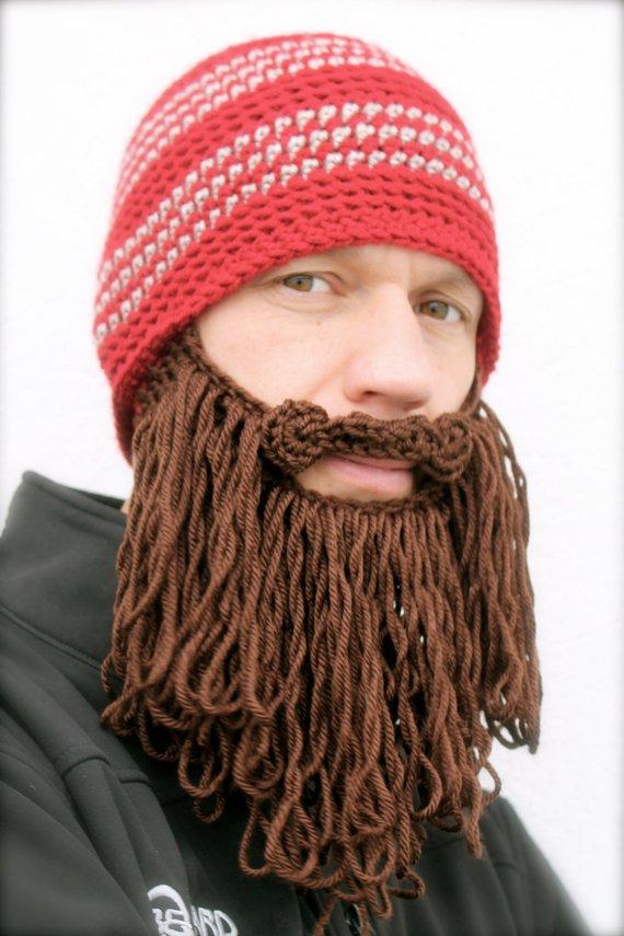 29188bd4ce2 long beard hat crochet mens toque The Original Beard Beanie™ shaggy- red  striped with chocolate brow