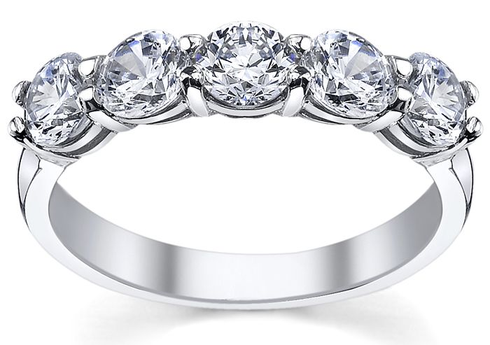 5 Stone Diamond Ring Featuring 3 00cttw Round Brilliant Diamonds With F G Color And Vs Clarity