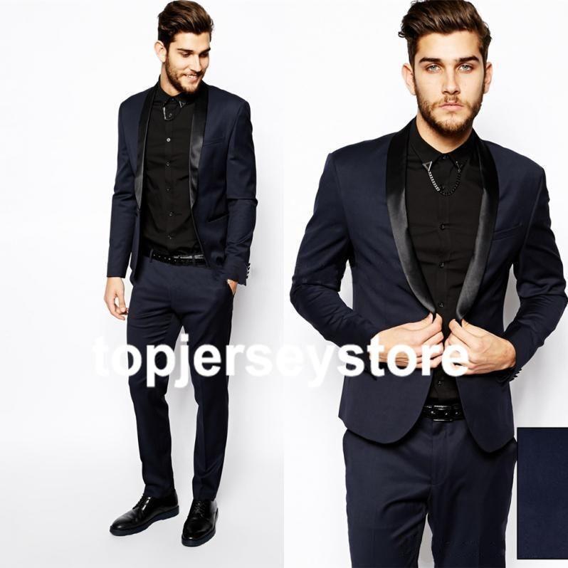 2015DH Custom Made 1 Button Black Groom Tuxedos Shawl Satin Lapel ...