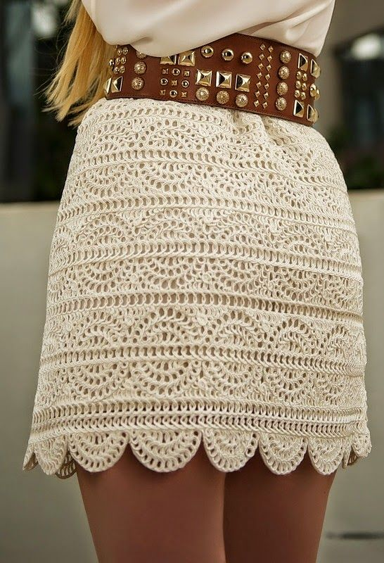 Pollera elegante al crochet - con patrones | Chales tejidos ...
