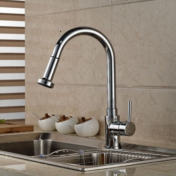 Contemporary Chrome Brass Kitchen Sink Faucet Deck Mount Pull Out