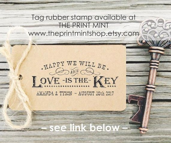 Wooden Rubber Stamp for Tags Key Bottle Openers Key to Happiness
