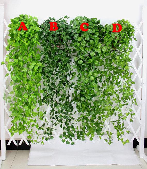 2 Bundle Artificial Ivy Leaf Garland Hanging Plants Vine Fake Foliage Flowers For Wedding Reception Decoration 47 inches MGT-023