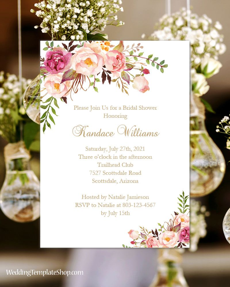 Places To Print Wedding Invitations: Bridal Shower Invitation Template Romantic Blossoms