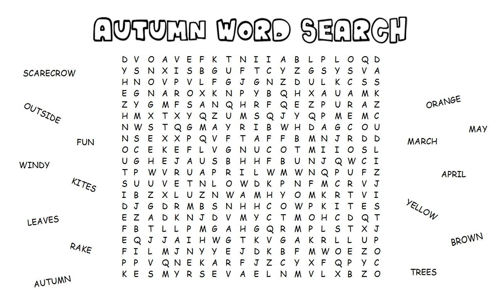Kid Autumn Word Search