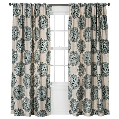 Naturals Medallion Curtain Panel Blue 54X84 Threshold Curtains Panel Curtains Drapes