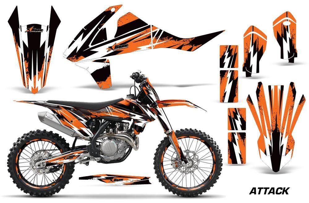 Graphics Kit Decal Wrap Plates For Ktm Sx Sxf Xcf 250 350 450 2016 Attack Orange Graphic Kit Ktm Ktm Motocross