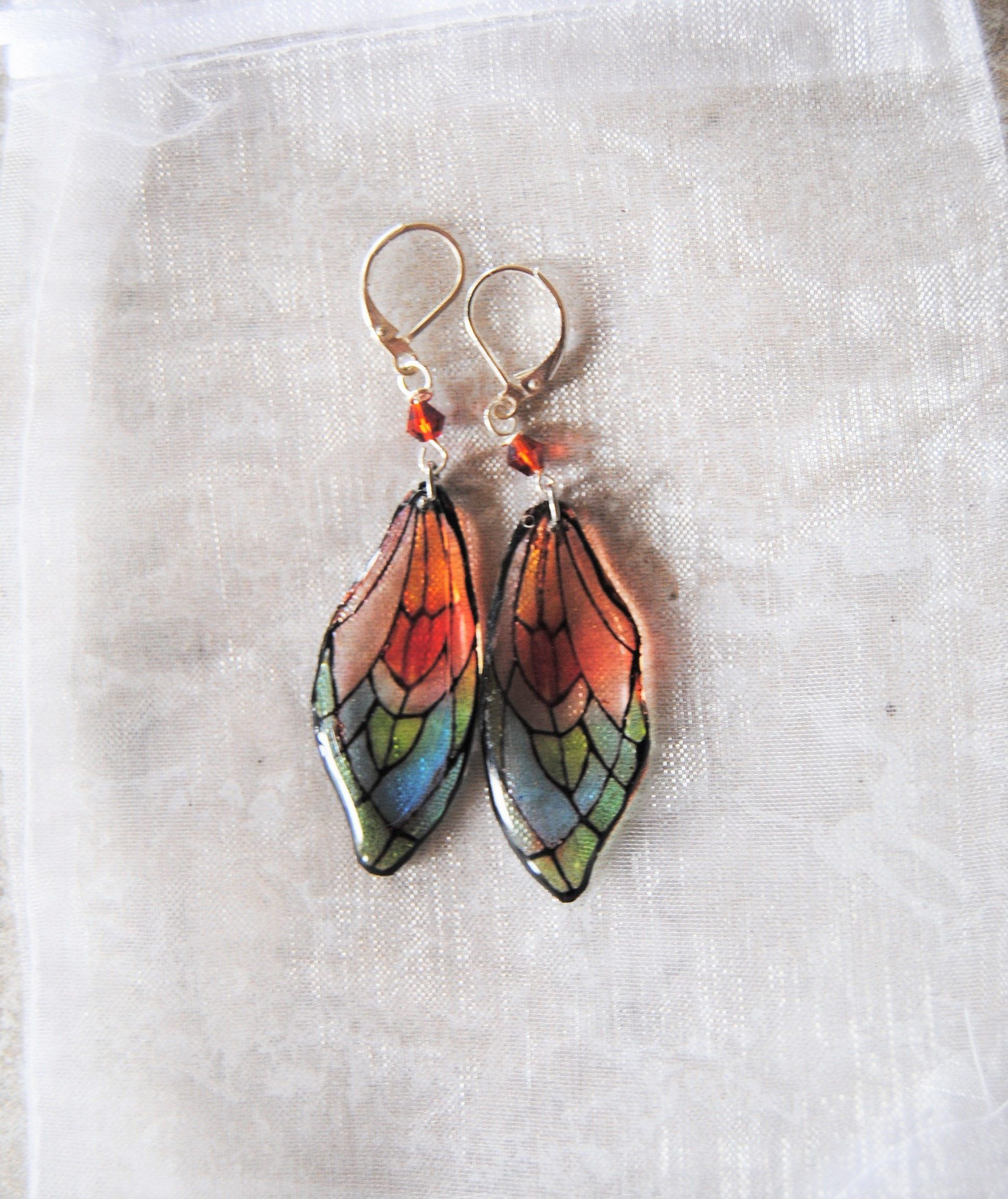 Erfly S Wings Stained Gl Style Boho Chic Inspirational Earrings Dangle