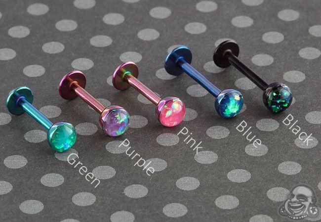 Tragus Labret Surgical Steel Labrets Opal Earrings Cartilage Labrets Blue Opal Labret Labret Piercing Labret 16g