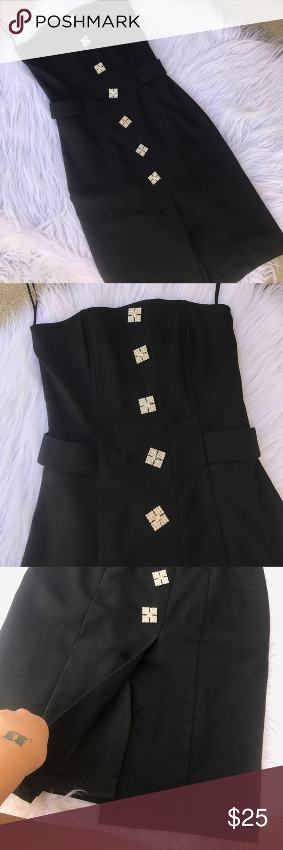 MASON SZ 2 or XS DRESS RHINESTONE BLACK DRESS Missing 2 buttons at the bottom but can't really tell when worn! This dress is incredible Mason Dresses