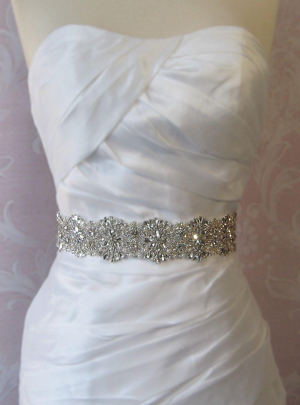 Pearl belt for wedding dress  Crystal Rhinestone u Pearl Bridal Sash Wedding by TheRedMagnolia