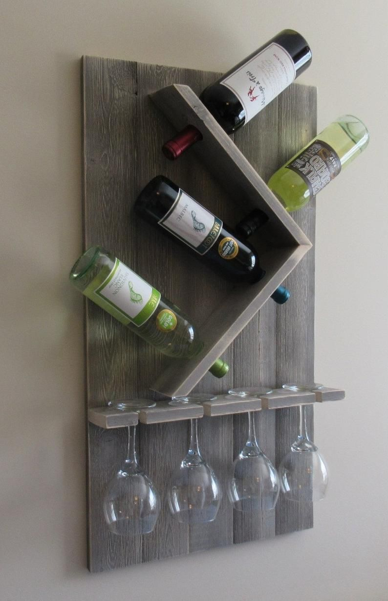Wine Bottle And Glass Wine Holder Rustic Wall Wine Rack Wine Rack Wall Mounted In 2020 Diy Wine Glass Diy Wine Glass Rack Wine Rack Wall