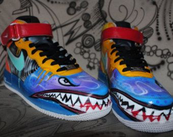 finest selection 21554 c9190 Nike Air Force 1 Airbrush Custom Graffiti Painted Shoes Art