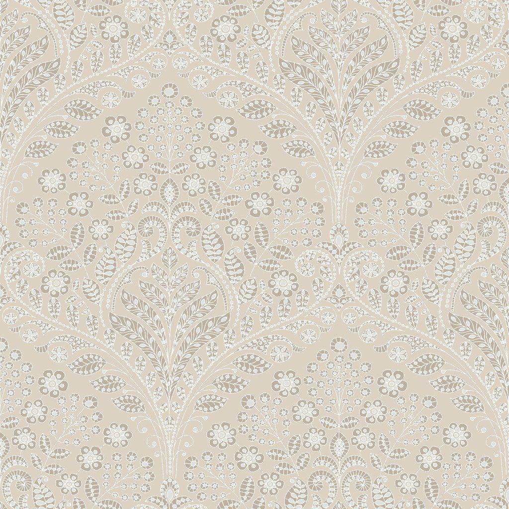Ornament 5946 Vliestapete Damast Weiß Mokka Beige: Amazon.de: Baumarkt