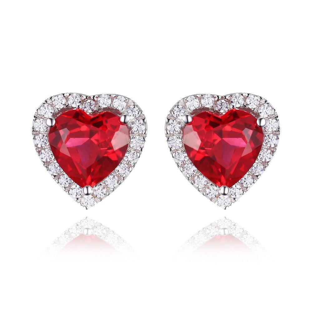 July Birthstone Heart Ruby Stud Earrings (925 Sterling Silver ...