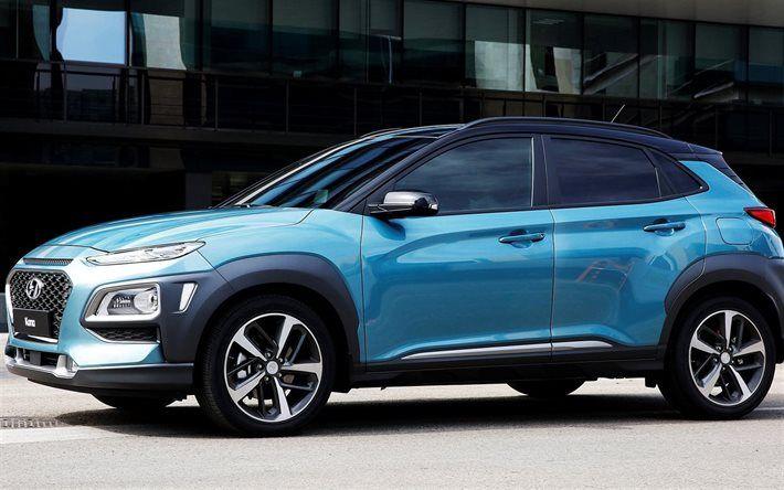 Lataa kuva Kona Hyundai, 2018 autoja, jakosuotimet, sininen Kona, korealaisia autoja, Hyundai