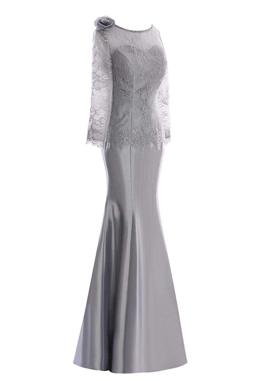 Grey mermaid wedding dress  SDRESS Womenus Long Sleeve Crewneck Floor Length Mermaid Mother