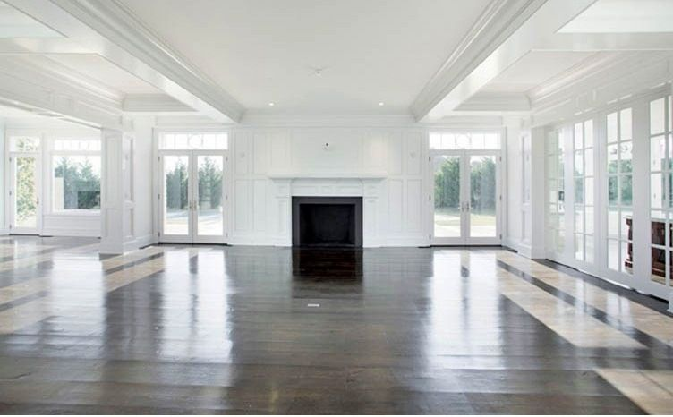 Hamptons House Sagaponack Mansion Cococozy Gambrel Style Living Room Fireplace Brick Interior Wrap Around Windows French Doors View Real Estate Lis