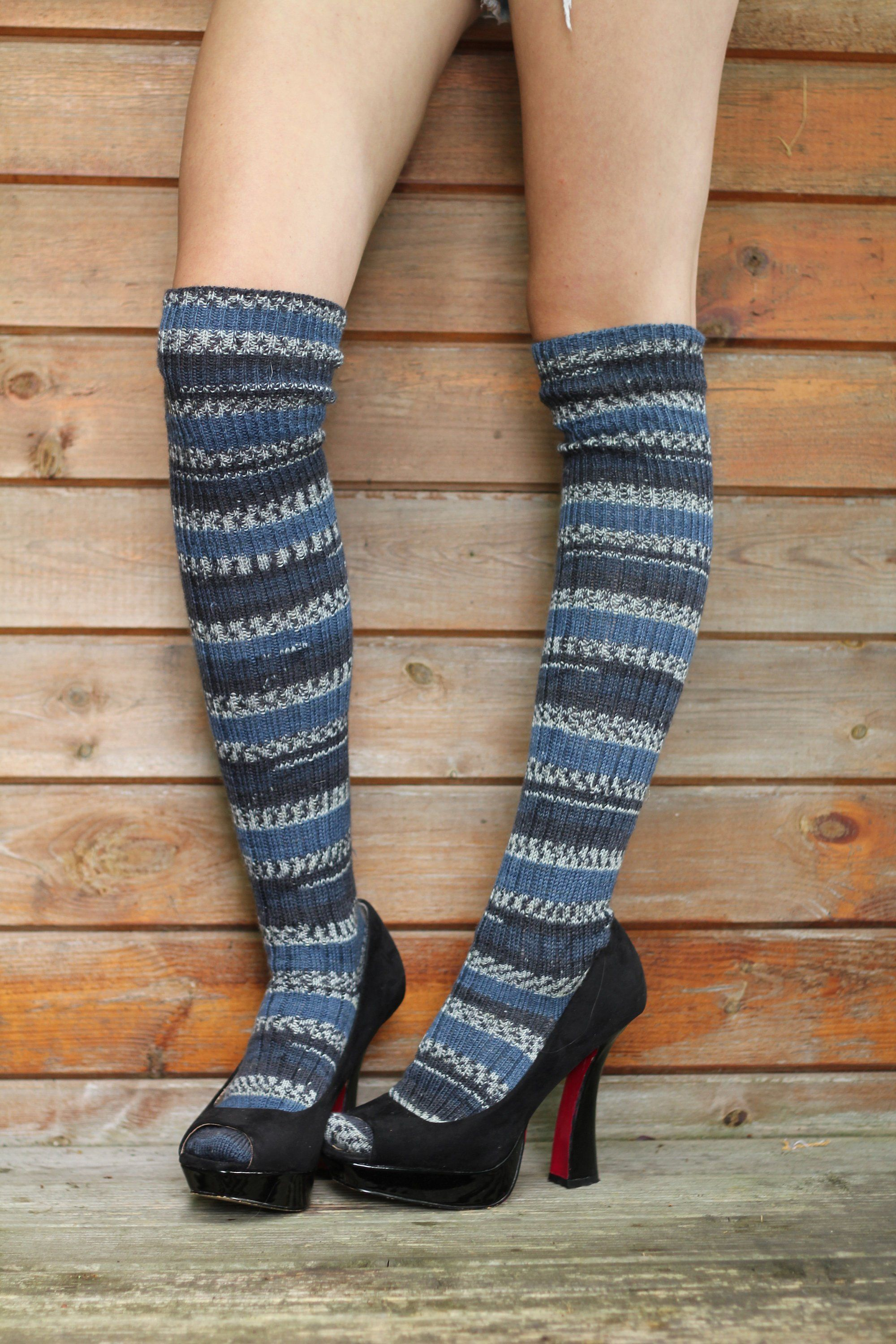 424e90a8ed7 Striped FAIR ISLE Knee Socks Blue Navy Winter Wool