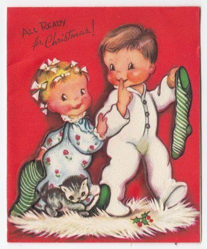 Vintage Greeting Card Christmas Cute Children Ice Skating Artist Eva Hartal22