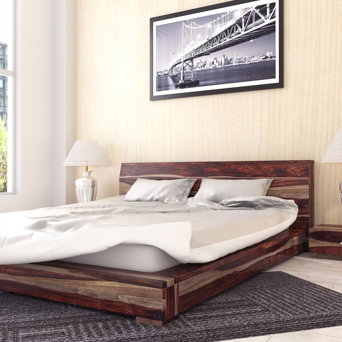The Sierra Nevada Handcrafted Solid Wood Platform Bed Features A