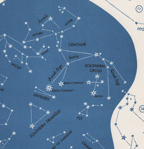 Southern Cross Star Map  Vintage Astronomy Print S