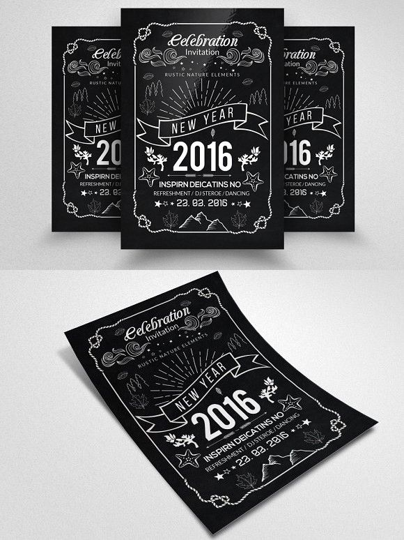 Happy New Year Party Flyer Party flyer, Wedding card templates and