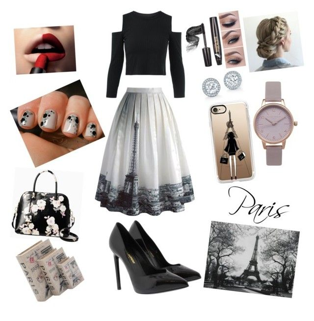 """Paris, black and white"" by eliskiku ❤ liked on Polyvore featuring Chicwish, Yves Saint Laurent, Olivia Burton, WALL, Kate Spade, Home Decorators Collection, Casetify and L'Oréal Paris"