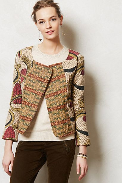 Kantha Moto Jacket #anthropologie. Put more of a small flare to the sleeve. love the contrasting patterns