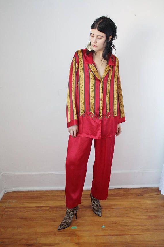80s Vintage Satin Pyjama Set Red and Gold w Embroidery VTG Glam Wham  Elegance Silk Suit b2cbdd62c