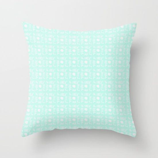 Buy it online. #society6 #buyart #pillow #cushions #roomdecoration. #decorative gift. #pattern #tribal #colorful design on #mint color. #hamtz
