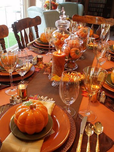 Fall Tablescape Love The Orange Pumpkin Soup Bowls Monster Table Centerpiecesfall