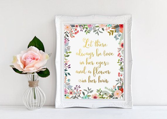 Nursery Decor, Let there always be love, Gold Letter Print, Inspirational Quote, Baby Girl Room Decor, Gold Floral, Nursery Wall Art, Prints