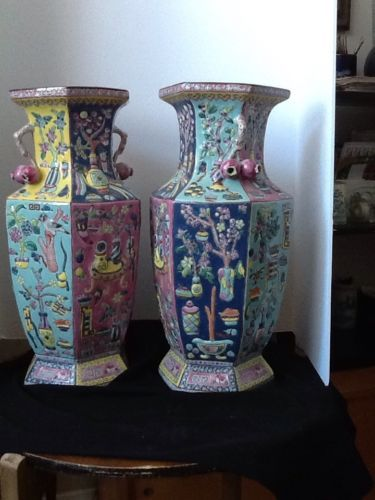 Pair Chinese Antique Vases Hand Painted Bl Yellow W Pomegranate