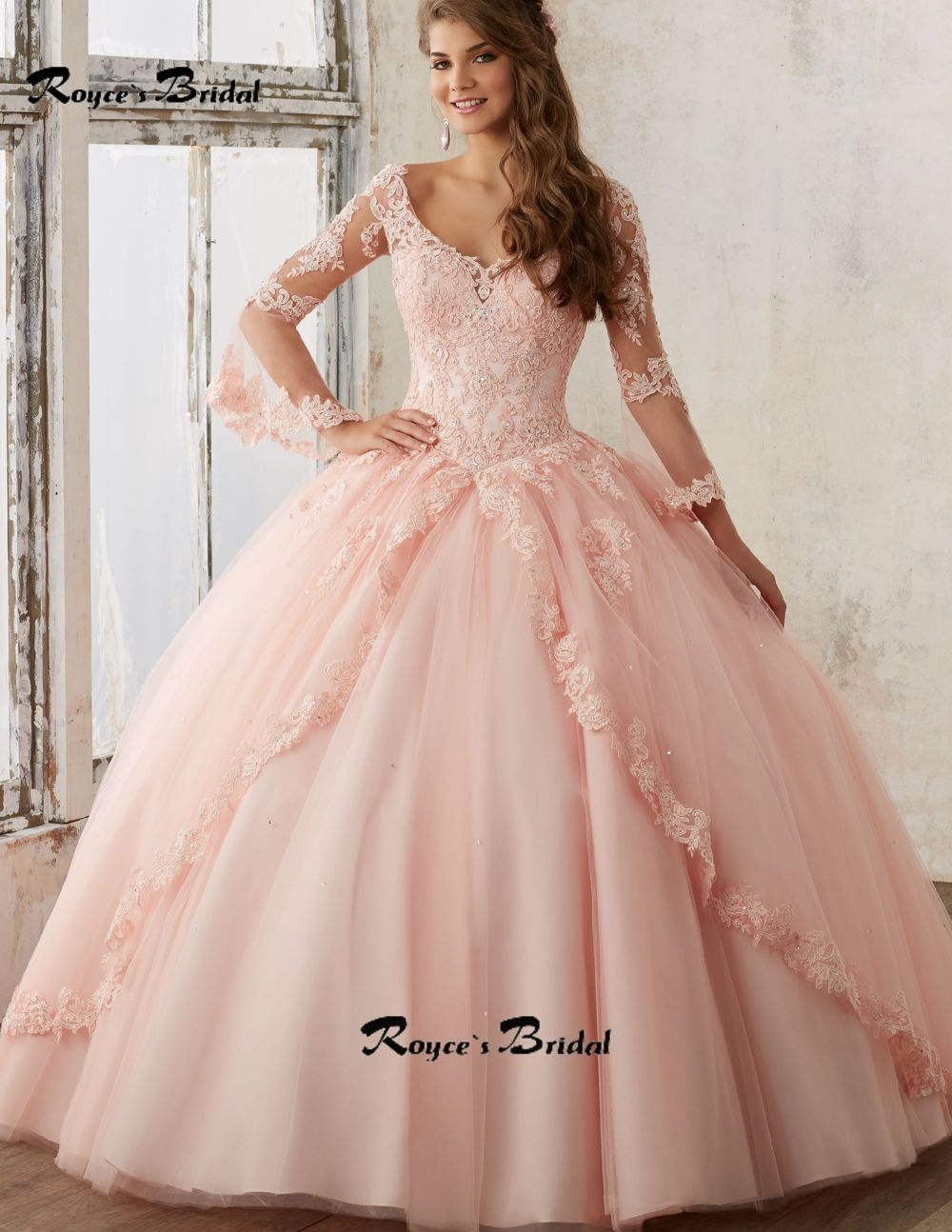 Sexy Deep V-neck Vestido 15 Anos Ball Gown Blush Quinceanera Dresses ...