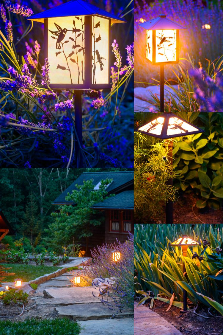A Beautiful Collection Of Our Hummingbird Garden Lights Magically Illuminating This Quaint Cottage Garden Led Garden Lights Garden Lighting Hummingbird Garden