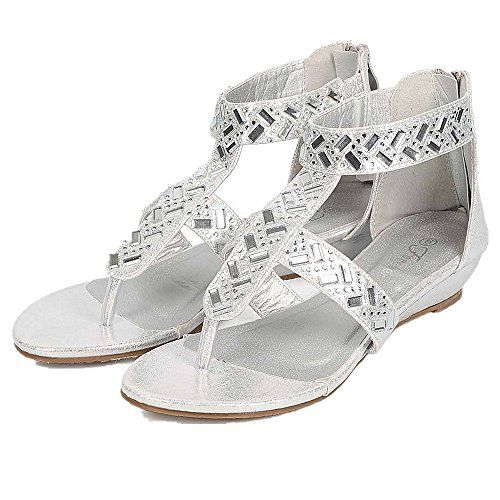 a8df31c14 Forever Link Women Metallic Gladiator Gem TStrap Thong Sandal 6 Silver  Award24     Click image to review more details.(This is an Amazon affiliate  link and ...