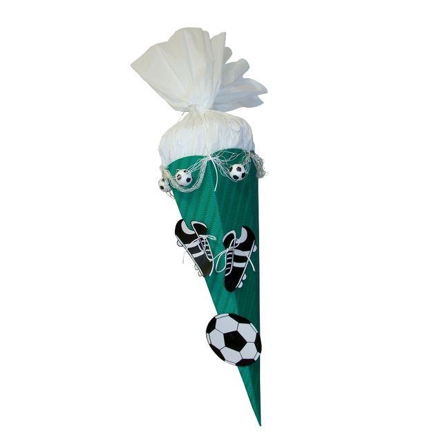 Schultüten - Schultüte Bastelset Fußball grün / weiß - ein Designerstück von prell-versand bei DaWanda
