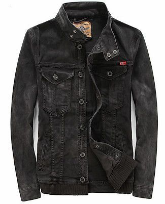 028aee66327c4a mens black motorcycle biker denim jacket coat outwear | ropa | Denim ...