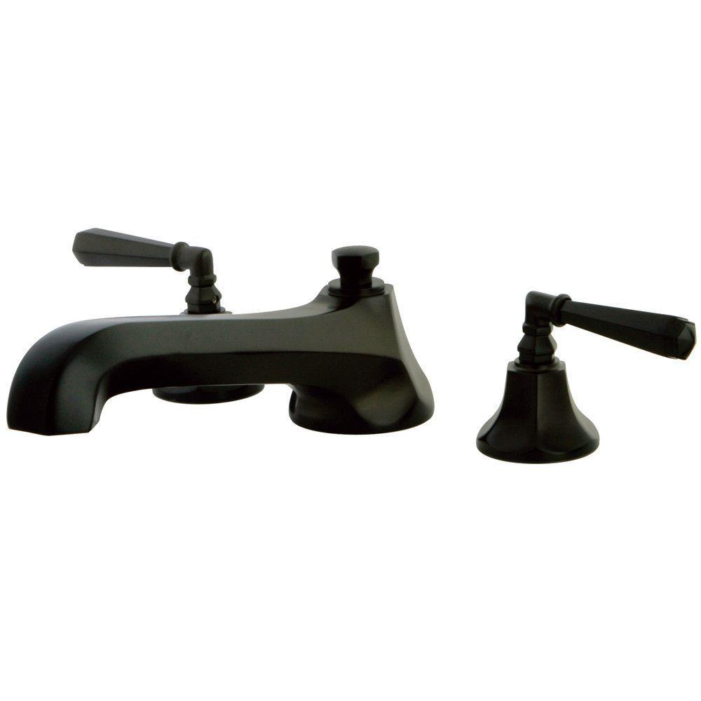 Oil rubbed bronze metropolitan two handle roman tub filler faucet