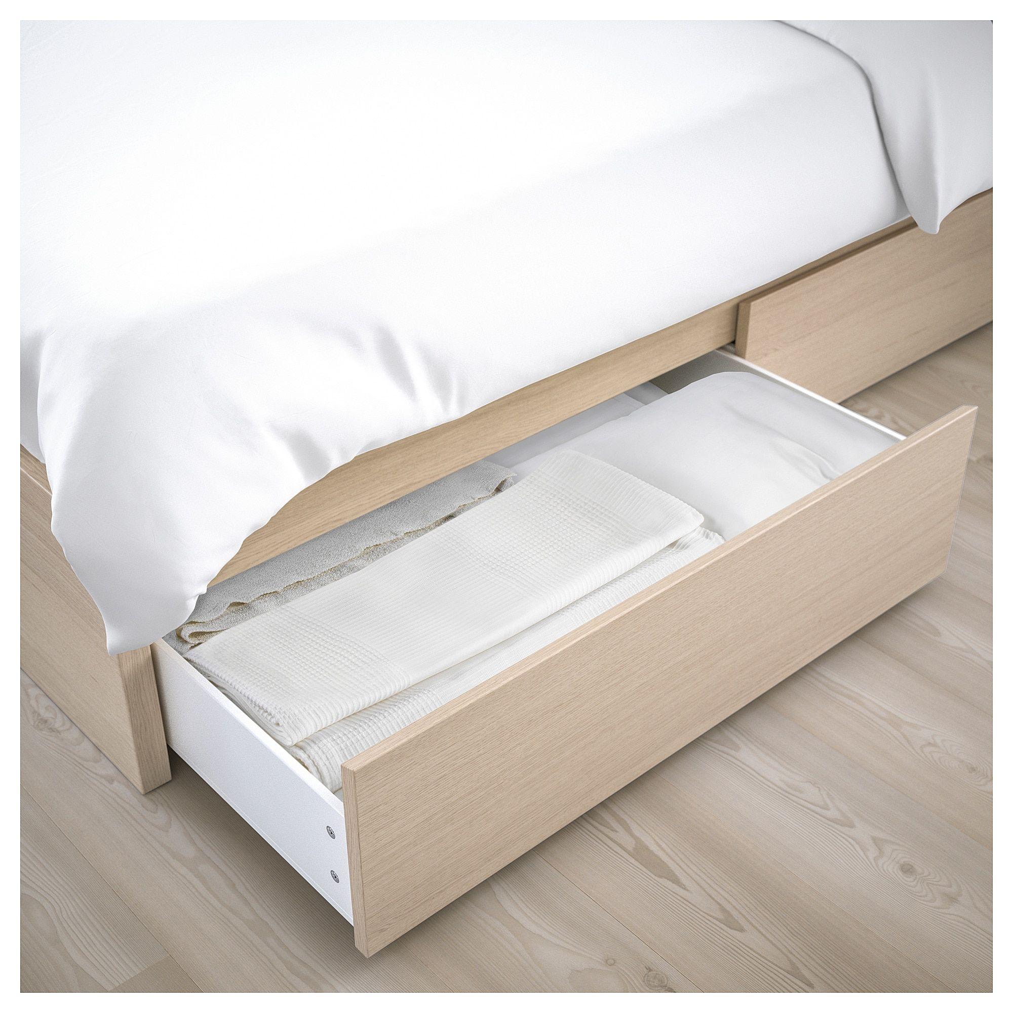 Malm Bettgestell Hoch Mit 2 Schubkasten Eichenfurnier Weiss Lasiert Malm Bett Bettgestell Und Aufbewahrungsbox