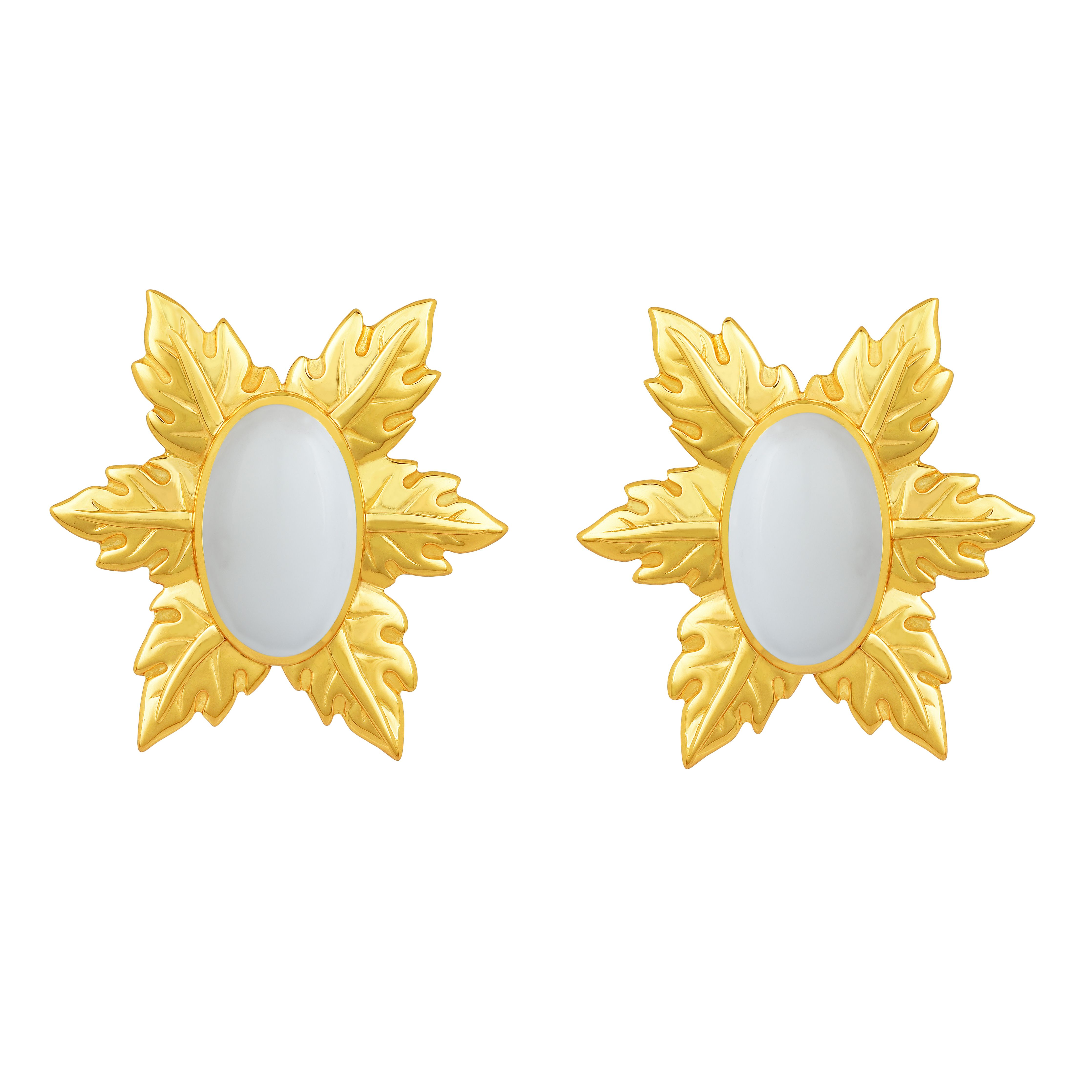 Angelina Alvarez The Floina Mini Earrings Are Plated In 24kt Gold And Inlaid With