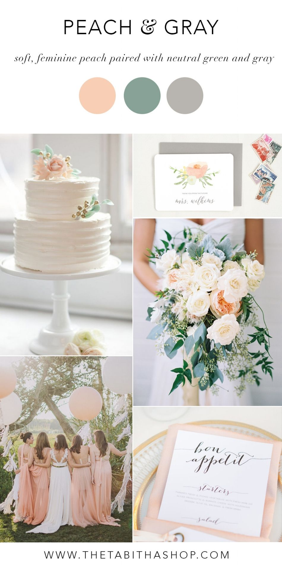 Peach and Gray Wedding Inspiration  — Tabitha & Lace