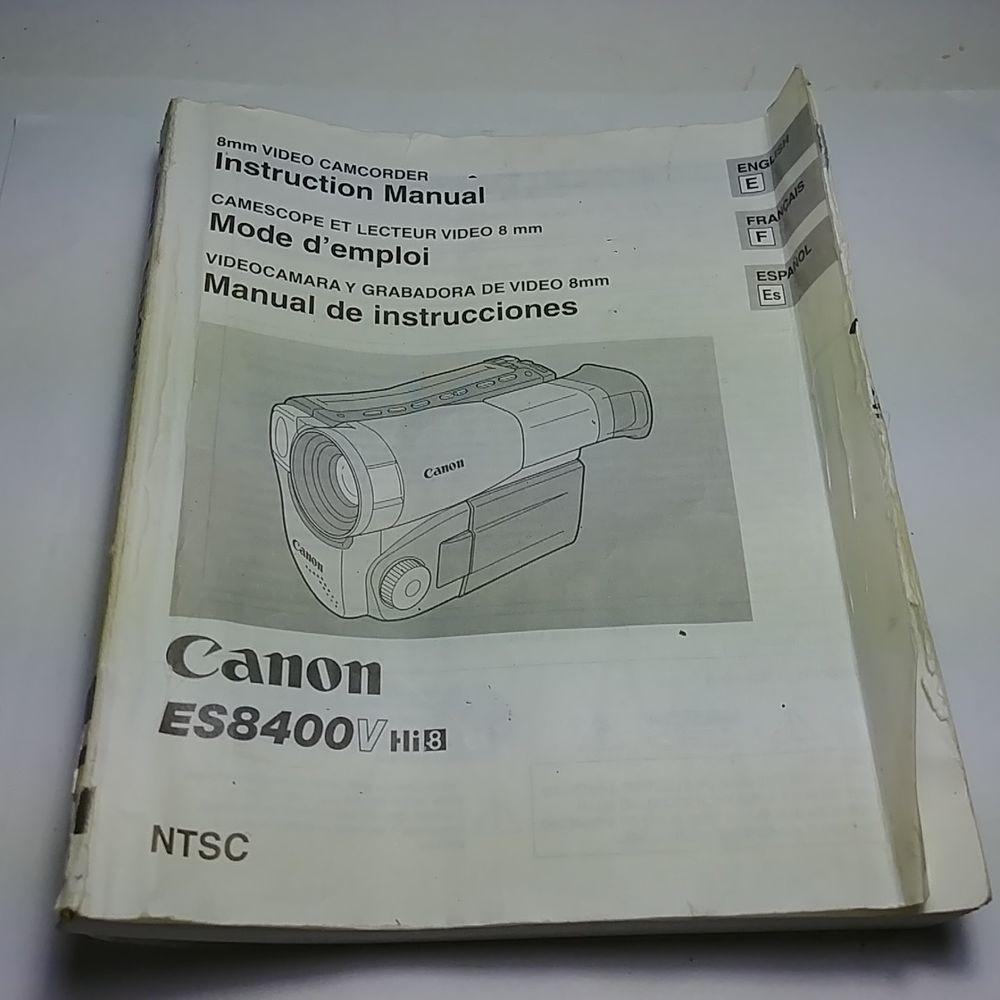 Canon ES8400V Hi8 8mm Video Camcorder Instruction Manual