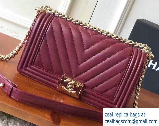 19b4086119f6f8 Chanel Shine Gold Hardware Boy Chevron Flap Medium Bag Burgundy 2017 Red  Chevron, Medium Bags