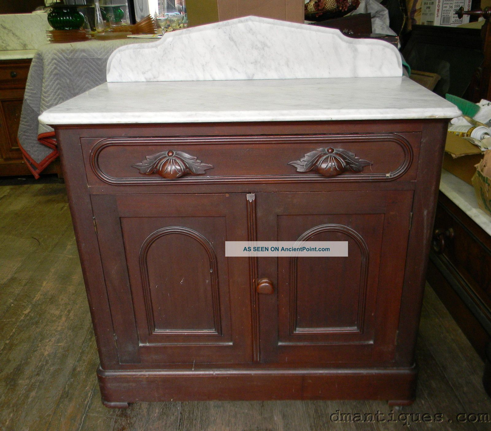 Antique Victorian Walnut Marble Top Bathroom Commode Wash Stand Storage Cabinet 1800-1899 photo