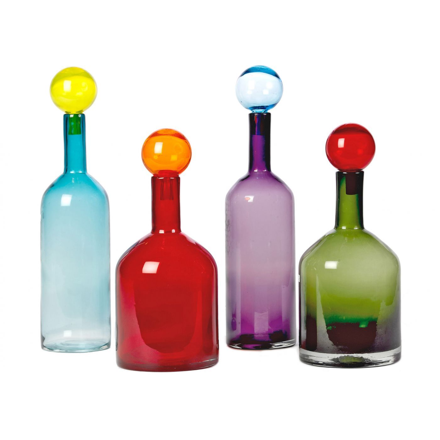 Set Of 4 Mouth Blown Glass Bottles Varying In Size With Round Glass Stoppers Artisinal Make Ensures Bubble Bottle Colored Glass Bottles Brown Glass Bottles