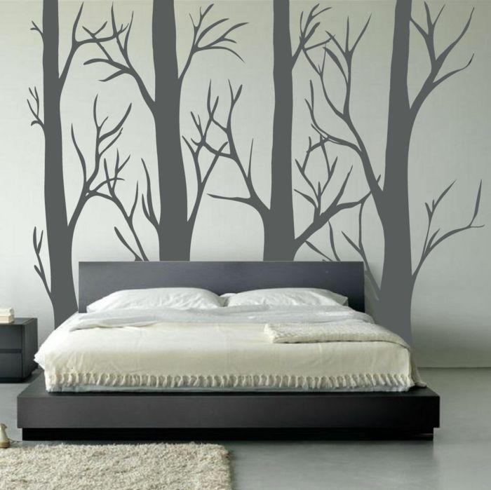 vinilos baratos decoracin de dormitorio con cama doble pared con vinilo gris con tallos - Vinilos Baratos