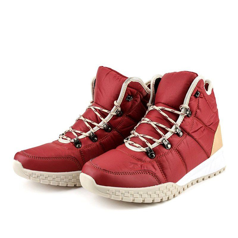 Czerwone Ocieplane Trapery Sznurowane F118 1 Women Shoes Hiking Shoes Men Hiking